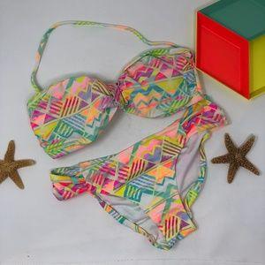 Pink Victoria's Secret Bright Geometric Bikini XS